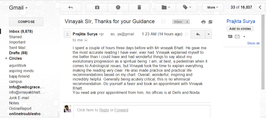 reviews for best astrologer in delhi , vimaya bhatt by Mrs. Prajkta surya